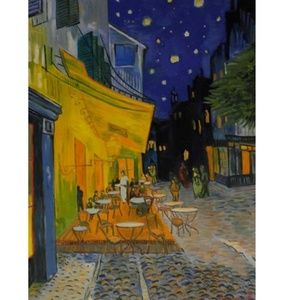 """Van Gogh """"Cafe Terrace at Night"""" Oil On Canvas."""